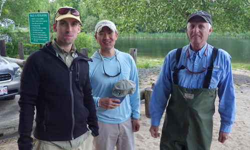 "Joel presents the ""Orvis Men"" club hats as a token of our appreciation for coming down to the outing. They gave casting lessons and demos of pretty cool stuff. Thanks guys!"